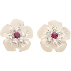 Stunning Ruby Diamond Platinum Convertible Earrings (550.690 RUB) ❤ liked on Polyvore featuring jewelry, earrings, multiple, clear stud earrings, flower earrings, diamond stud earrings, cluster stud earrings and ruby earrings