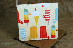 Blank Mini Card Set of 10 Summer Popsicle Design with by mad4plaid, $5.00
