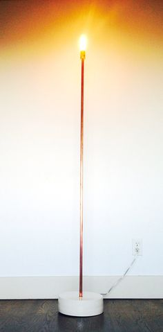 This floor lamp is made from copper & porcelain and comes complete with oversized Edison bulb. Copper is sourced new and hand sanded for a refined