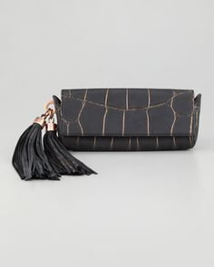 Z Spoke $275  Claudette+Croc-Embossed+Tassel+Clutch%2C+Black+by+Z+SPOKE+ZAC+POSEN+at+Neiman+Marcus.