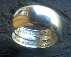 1943 Standing Liberty Silver 1/2 Dollar Coin RIng...Size 7...Sunrise!