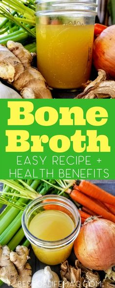 Health Benefits of Bone Broth + Bone Broth Recipe - Best of Life Magazine There are many health benefits that come from simple bone broth or stock that you can easily discover by using it more places than usual. Slow Cooker Recipes, Low Carb Recipes, Crockpot Recipes, Soup Recipes, Healthy Recipes, Easy Recipes, Drink Recipes, Banting Recipes, Chilli Recipes