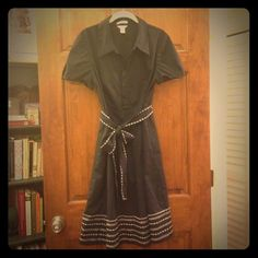 Dark navy collared dress. Adorable dark navy blue dress with white stitching details. The dress has a collar, capped sleeves, a stitched waist tie and elastic waist on back. Great dress for work. Barely worn. Like new. Christopher & Banks Dresses Midi