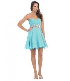 This short turquoise blue dress features a strapless ffd40abea