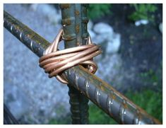 detail of some of my garden art: steel rebar and copper wire to ...