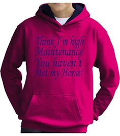TWO TONE Hot Pink/Navy Hoodie 'THINK I'M HIGH MAINTENANCE YOU HAVEN'T MET MY HORSE' with Pearlescent Blue Print.