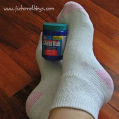 To treat dry, cracked feet,massage chest rub into your feet andcover with socks over night.Do this every night for 2 weeks (you'll notice a difference after the first day). Thisis something we used to do in ballet and let me tell you,it works.     Applying chest rub to the bottom of feet at night also acts as a cough suppressant. I love this stuff!