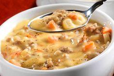 Sopa de queso y salchichas - Recetín