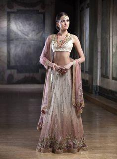 Soft pink and ivory lehenga Outfit by:Mansi Malhotra. Indian wedding