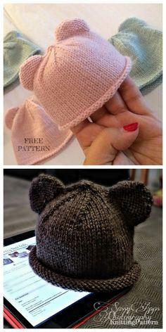 Knit Bear Cub Beanie Hat Free Knitting Pattern, knitting for babies, Baby Knitting Patterns Free Newborn, Beanie Knitting Patterns Free, Baby Hat Patterns, Baby Hats Knitting, Knitting For Kids, Free Knitting, Newborn Knit Hat, Knitting Bear, Knit Beanie Pattern