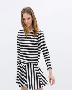 Image 1 of TWO-TONE STRIPED T-SHIRT from Zara
