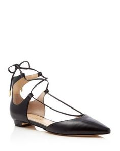 IVANKA TRUMP Tavyn Leather Lace Up Pointed Toe Flats | Bloomingdale's