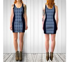 "Bodycon dress ""Blue South Western Diamond Mosaic Panel Design"" by Jocelyn Ball"