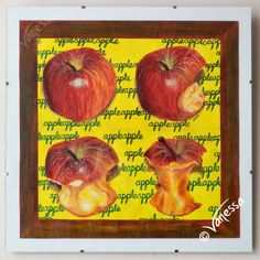 """ORIGINAL Signed Framed Painting in Acrylics of Apples by VLGStudios This painting is entitled """"AN APPLE A DAY"""".   Completed in March 2010 as a part of still-life study of fruit and veg, it depicts the changes over time in the life of an apple being eaten. These are adapted from a time-series set of photos taken by Vanessa Grundy.  Brightly coloured and highly realistic, it will bring vibrancy to any room."""