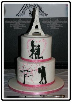 Eiffel Tower Engagement Cake - Cake by Suzanne Readman - Cakin' Faerie