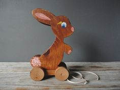 Gorgeous wooden bunny pull toy