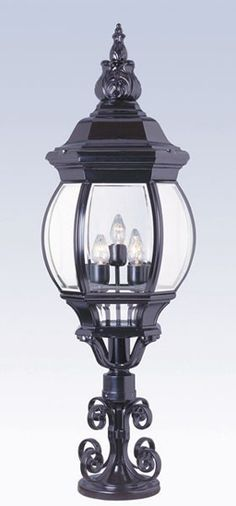 Five light up lighting extra large outdoor post light featuring beveled glass Requires 5 Medium Base Bulbs (Not Included) Hanging Lanterns, Hanging Lights, Wall Lights, Lantern Post, Wall Lantern, Fence Lighting, Powder Coating, Lamp Light, Outdoor Spaces