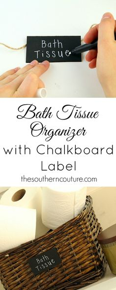 Never worry about sitting down and then finding out that someone before you didn't replace the toilet paper. Keep it hand and organized with this basket and chalkboard label. Get the full tutorial at thesoutherncouture.com. #CraftedExperience #CollectiveBias ad