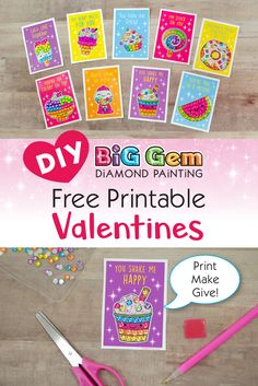 Helping your child find the perfect Valentine's Day cards to bring to school can be a pretty big deal. Have them customize their valentines this year in sparkling gems with our DIY Valentines Day printables and Big Gem Diamond Painting craft kits! Valentine Day Special, Valentine Day Crafts, Happy Valentines Day, Holiday Crafts, Craft Kits For Kids, Art Activities For Kids, Art For Kids, Crafts For Kids, Preschool Crafts