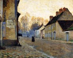 Rue Du Canal, Moret-sur-loing Artwork By Clarence Gagnon Hand-painted And Art Prints On Canvas For Sale,you Can Custom The Size And Frame Canadian Painters, Canadian Artists, Landscape Art, Landscape Paintings, Small Paintings, Clarence Gagnon, National Gallery, Impressionist Paintings, Art Prints For Sale