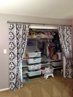 Take off the closet doors and use a curtain. Completely changes the look of  the