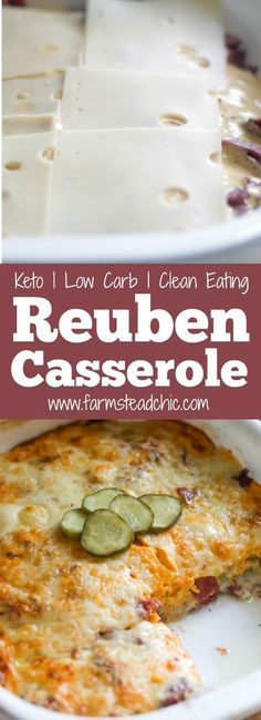 This Low Carb, Keto Reuben Casserole combines all the wonderful elements of a Reuben sandwich except the bread. And trust me, you won't even realize it's not there. All the flavors and textures combine perfectly into a creamy, cheesy, hot and bubbly bowl of tasty low carb goodness. (Thirty-one grams of fat and fewer than 5 net carbs per serving!) #keto #lowcarb #lchf #farmsteadchic | www.farmsteadchic.com Reuben Sandwich, Quiches, Lower Carb Recipes, Keto Recipes, Dinner Recipes, Vegetarian Recipes, Carb Free Recipes, Healthy Recipes, Atkins Recipes