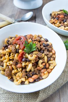 Looking for a quick soup recipe for a chilly night? Try this fun two bean chili mac recipe.