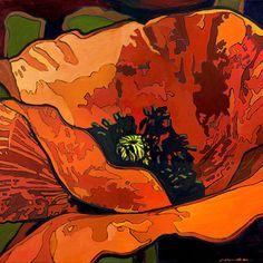 Mod Poppy - Giclee Art PRINT of Original Painting matted 12x12 by Jan Schmuckal