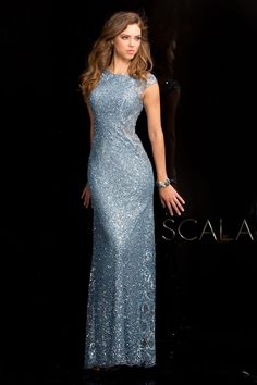 96e2311527 SCALA - 48467 Beaded High Neck Long Prom Dress   Evening Gown (sheer side  panels