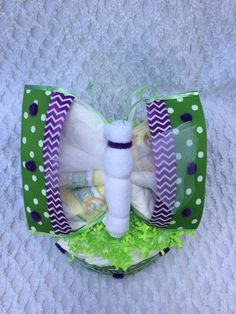 Green And Purple Chevron Diaper Butterfly And Mini Diaper Cake Set Unique Baby Gift Shower Decoration~Made with Diapers, Onesie & Washcloths