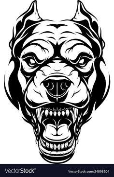 Ferocious pitbull dog head vector image on VectorStock Pitbull Tattoo, Bulldog Tattoo, Tattoo Drawings, Art Drawings, Tattoos, Really Cool Drawings, Skull Stencil, Dog Logo, Dark Photography