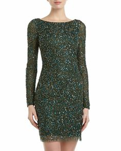 Sequin Mesh Minidress, Green/Gold by Aidan Mattox at Neiman Marcus Last Call.  Ohhhh.... if only I had a place to wear this!