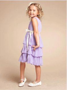 Angel A-line Bateau Knee-length Chiffon Purple Flower Girl Dresses