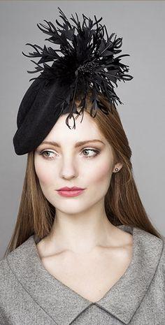 Rachel Trevor Morgan Millinery Autumn Winter 2015 Black button hat with  feather flower trim 425f27debe78