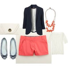 Coral shorts with navy blazer and striped flats. I know what color combination I'm trying next!
