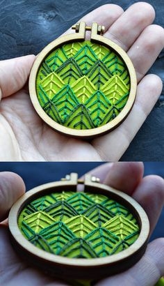 pine forest miniature embroidery hoop
