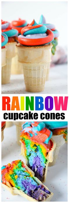 Rainbow Swirl Cupcake Cones with homemade Rainbow Swirl Frosting, see the inside, WOW!