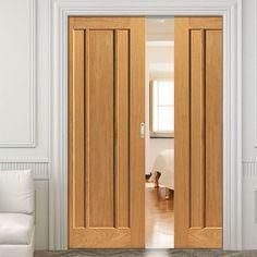 Double Pocket River Oak Eden 3 Panel sliding door system in three size widths. #internalpaneloakdoors #internaloakslidingdoors #internalpocketdoorpair