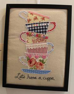 Appliqué tea cups