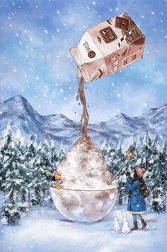 내가 살고 있는 이 숲에 겨울이 찾아오면 깨끗한 눈으로 뒤덮인 온통 새하얀 풍경이 우리를 반겨줍니다 때묻지 않은 하얀 눈을 오목한 그릇에 담아 달콤한 초코우유를 뿌려주면  금세 근사한 초코 빙수가 되곤 하지요 새하얀 눈만큼이나 순수한 그때의 추억 겨울의 맛처럼 깨끗한 눈 빙수가 이번 겨울에도 생각납니다