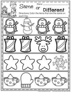 FREE December Preschool Worksheet - Same or Different.