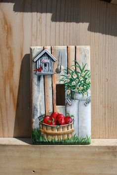 Birdhouse, red cardinal bird, apple basket, milk can, daisies and red apples country light switch plate painting, hand painted by sherrylpaintz.