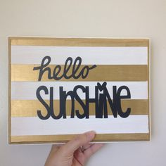 Hello sunshine sign by CreightonCreative on Etsy Follow @CreightonCreativeShop on instagram for special offers wall art, summer signs, hello sunshine, gold and white stripes, black vinyl lettering