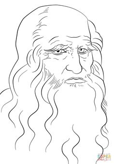 Leonardo da Vinci Self Portrait coloring page from Leonardo da Vinci category. Select from 28336 printable crafts of cartoons, nature, animals, Bible and many more.