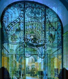 Secessionist Peacock Gate - Gresham Palace Four Seasons Hotel, Budapest.