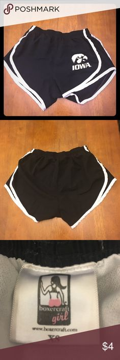 XS University of Iowa black & white running shorts Comfy Iowa athletic running shorts - go hawks! Shorts