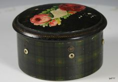 Green & Black Tartanware Clark's Thread Box w/Rose Applique