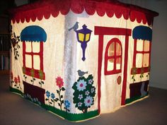 DINING TABLE PLAYHOUSE, custom tailored delux felt play house, waldorf childrens toy fort. $245.00, via Etsy.