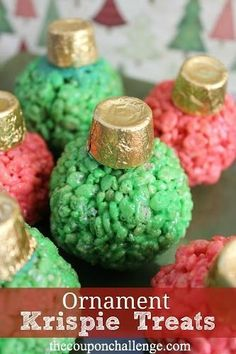 I love these Marshmallow Krispie Treat Ornaments!  They are super easy to make, unique and cute!  Look for sales on Rice Krispie treats to help you save on a tasty holiday treat.