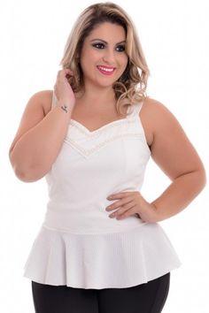 Blusa Plus Size Peplum White